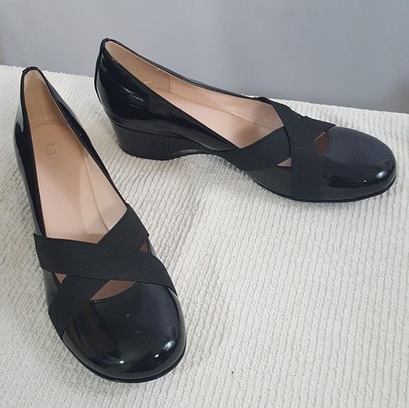 ac25bcbe05e6 Taryn Rose Black Patent Slip On Wedge Shoes. M 5b2d9eede944ba2fc7c9f5d8